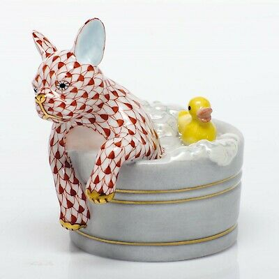 Herend,  Squeaky Clean  French Bull Dog Porcelain Figurine, Rust Fishnet, $375 • 217.22£