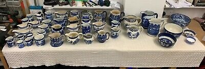 Blue & White Jugs Job Lot X40 Transfer Ware Willow Pattern  Doulton Abbey Fenton • 120£