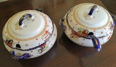 Pair Of Losol Ware Paisley Pattern Tureens Made By Keeling & Co Of Stoke 1912-36 • 22£
