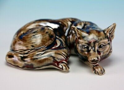 Anita Harris Art Pottery The Brown Curled Fox Gold Signed • 34£