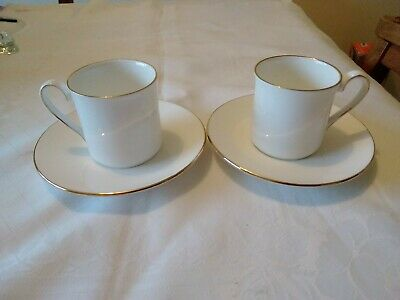 Queen's Fine Bone China Coffee Cups & Saucers X 2. White Edged In Gold. • 3.99£
