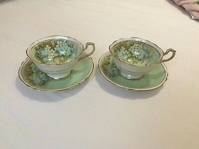 Paragon Bone China Tea Cups & Saucers X 2 - Hydrangea - Mint/Blue/Taupe. • 10.50£