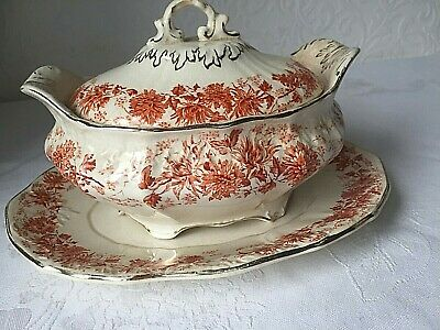 Antique R. Hammersley Red Flower Transfer Design Tureen Serving Dish With Plate  • 4.99£