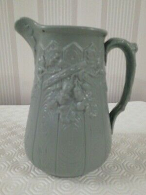 Antique Copeland Blue Grey Relief Moulded Jug With Fence And Oak Leaves Acorns • 15£