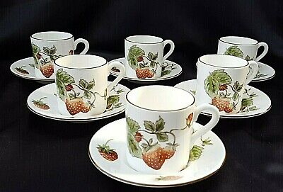Coalport  STRAWBERRY  COFFEE CUP & SAUCERS  X 6 - SUPER CONDITION • 47.99£