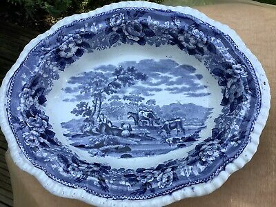 2 Antique Adams Cattle Scenery Blue & White Dishes • 22£
