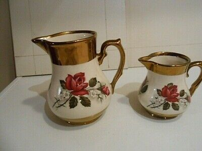 2 Vintage Wade Lustre Ware Jugs With Floral Artwork • 12£