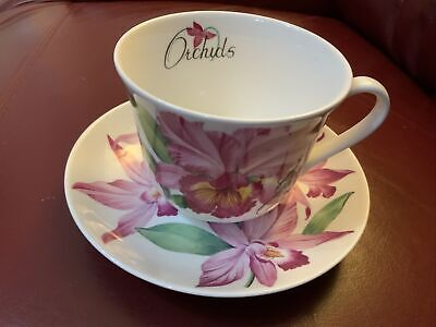 Roy Kirkham Breakfast Cup And Saucer RARE CATTLEYA ORCHIDS - Excellent Condition • 6£