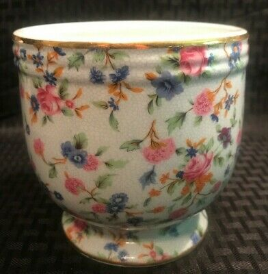 Two's Company Porcelain Chintz Footed Planter ~ Floral Gold Trim Pink/Blue • 11.04£