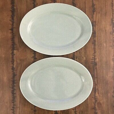 """Pair Of Two BIA Cordon Bleu ANCIEN Crackle Green Oval Platters13.75 By 10"""" • 54.49£"""