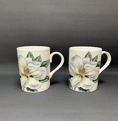 Pair Of Mugs - Roy Kirkham - Lilies - Fine Bone China - Made In England. • 19.99£