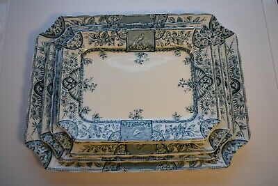 Antique Meat Plates Square Blue And White Alexandria RN 39268 Vintage • 140.50£