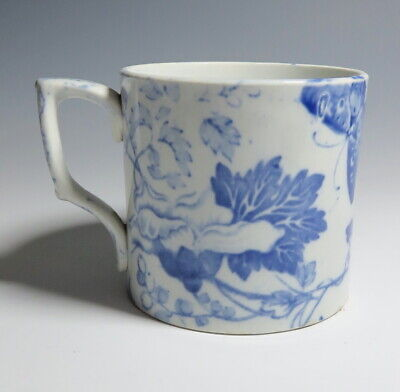 19th C Staffordshire PEARLWARE Mug ~ Butterfly Bee • 14.95£