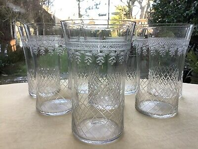 8 Antique Edwardian Pall Mall Etched Glass Tumbles • 40£