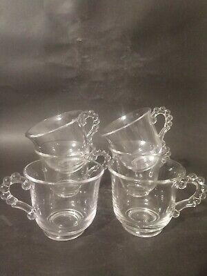 6 Imperial Glass Candlewick Clear Cups - Beaded Handles 3  Tall Vintage • 12.89£