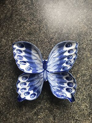 Butterfly Shape China Blue Dish/Wall Plaque • 2.80£