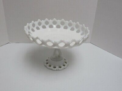 Westmoreland White Milk Glass Doric Lace Pedestal Compote Cake Plate Fruit Bowl • 21.35£