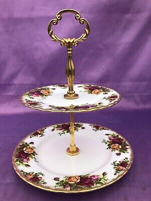 ROYAL ALBERT OLD COUNTRY ROSE Two Tier Cake Stand • 19£