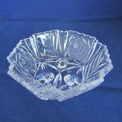 Clear Cut Glass Candy Dish Made In The USA  4  Across 2  Tall  • 2.19£