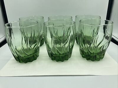 9 Anchor Hocking Ivy Green CENTRAL PARK Double Old Fashioned Tumblers/Glasses • 51.34£