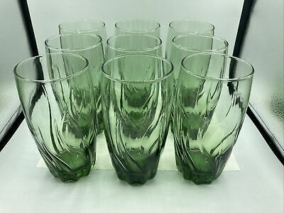 """9 Anchor Hocking Ivy Green CENTRAL PARK Tumblers Glasses 6"""" • 58.68£"""