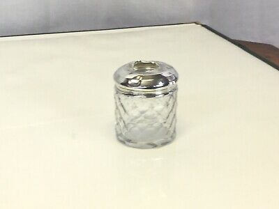 Cut Glass Pin Pot Silver Top • 25£