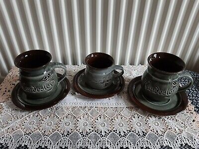 3 X Piece Handmade Mundsley Cup And Saucers • 30£