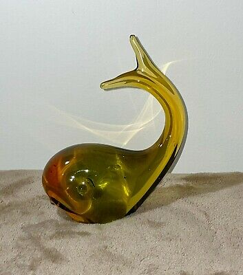 Large Glass Gold Green Whale • 10£