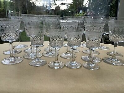 Edwardian Etched Pall Mall Mixed Port/wine Glasses. • 40£