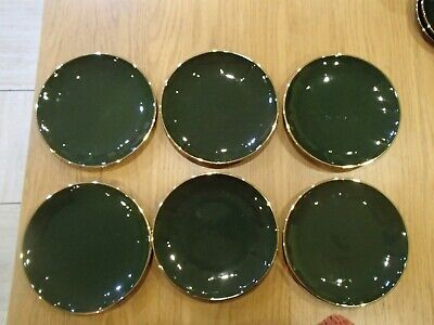 Apilco Green & Gold X6 Salad Side Plates 8  20 Cm French Bistro Not Backstamped • 30£