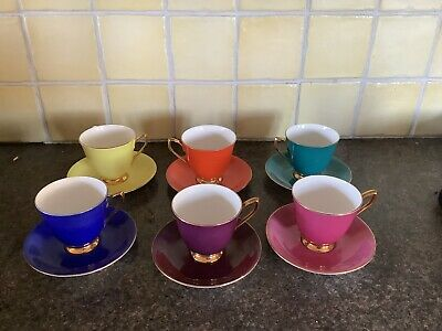 Royal Albert Gaiety Cup And Saucer X 6 Bright Colours  • 50£