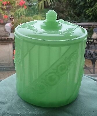 Antique Art Deco Baccarat S.reich Opaline Jadeite Uranium? Glass Biscuit Barrel • 200£