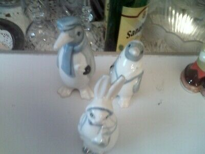 Wade 3 Old Pieces Mr Mrs Penguin And Mrs Rabbit • 48£