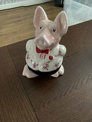 Rare Natwest Pig - Sir Nathaniel, White Jacket & Long Striped Tie, With Stopper • 58£