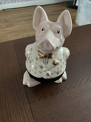 Rare Natwest Pig - Sir Nathaniel, White /Gold Jacket With Gold Tie& With Stopper • 58£