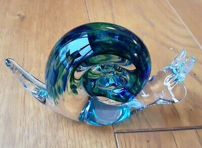 Wedgewood Glass Blue/green/clear Snail Paperweight Ornament • 3.40£