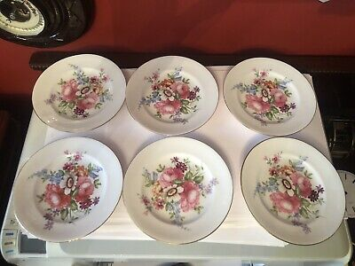 Beautiful Crown Staffordshire Floral Side Plates X 6 • 15£