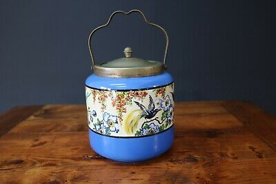 Palissy Biscuit Barrel Art Deco Ceramic Kingfisher Blue Vintage English China • 49.99£