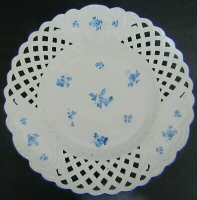 Antique Meissen Blue Scattered Flowers 23cm Reticulated Cabinet Plate - Vgc • 16£
