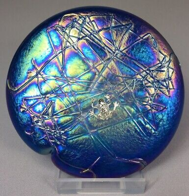 Glasform John Ditchfield Iridescent Aqua Lily Pad Paperweight With Silver Frog • 139.99£