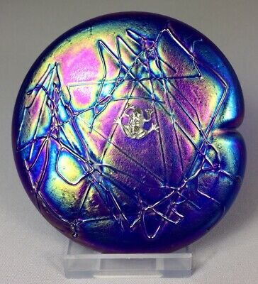 Glasform John Ditchfield Iridescent Cobalt Lily Pad Paperweight With Silver Frog • 139.99£