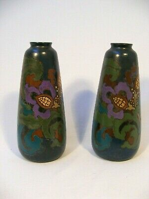 Pair Of Decoro Floral Colourful Vases - Pottery Made In England • 5£