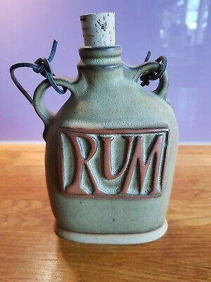 Pottery - Rum Flask With Leather Strap • 5£