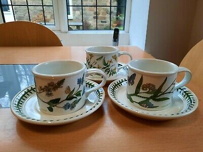 3 Portmerion Botanic Garden Coffee Cups And Saucers • 12£