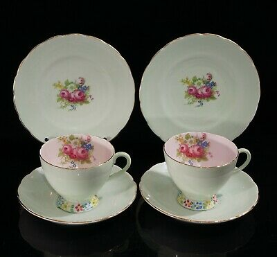 Pair Of Vintage Foley Teacup Trios, Green With Pink And Flowers Inside, C.1930  • 25£