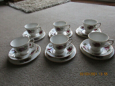 Queen Anne Pretty Red Rose China Teaset Afternoon Tea • 7.50£