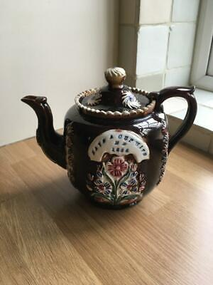 Antique Bargeware Pottery Teapot - Dated 1884 • 24.99£