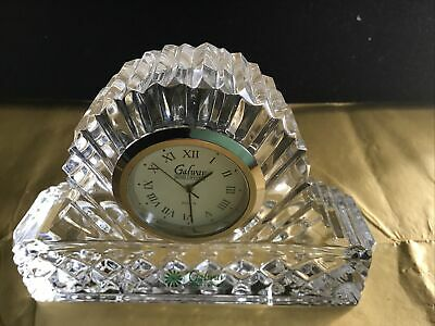 Galway Crystal Executive Mantel Clock With Box • 12£