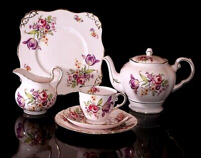Stunning 22 Pc Tuscan China Teaset With Teapot, Montrose Pattern, Pink Floral • 170£