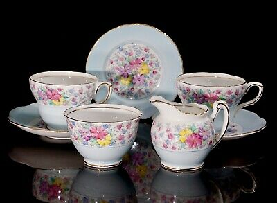 Lovely Foley E. Brain Teaset For Two, Pale Blue With Flowers And Gilt, Excellent • 35£
